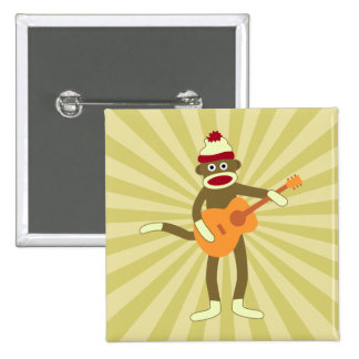 Socken-Affe-Akustikgitarre Quadratischer Button 5,1 Cm