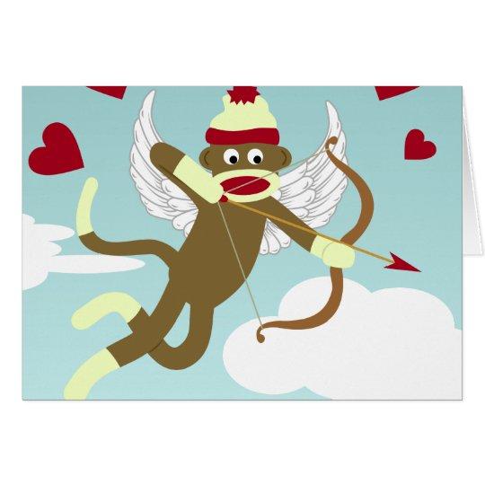 Socken-Affe-Amor Grußkarte