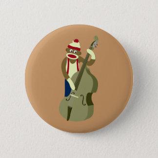 Socken-Affe-aufrechter Bass-Spieler Runder Button 5,1 Cm