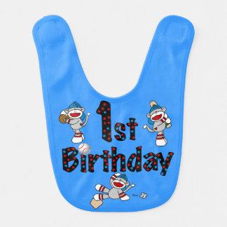 Socken-Affe-Baseball-1. Geburtstags-Schellfisch Lätzchen