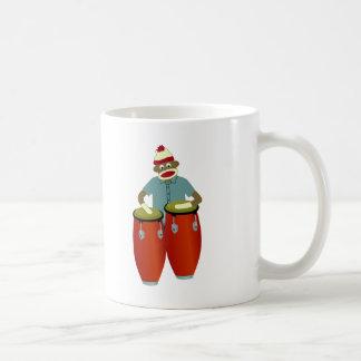 Socken-Affe-Conga-Trommeln Kaffeetasse