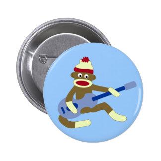 Socken-Affe, der blaue Gitarre spielt Runder Button 5,7 Cm