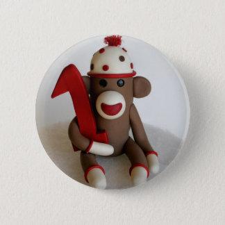 Socken-Affe-erster Geburtstag Runder Button 5,7 Cm