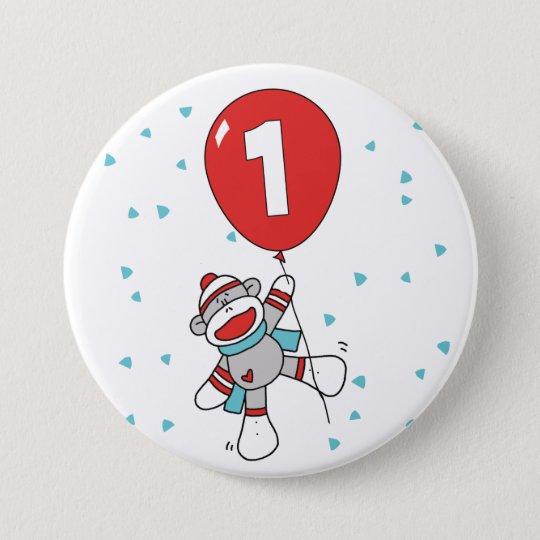 Socken-Affe-erster Geburtstag Runder Button 7,6 Cm