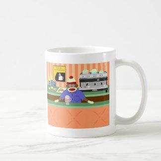 Socken-Affe-Kaffeestube Barista Kaffeetasse