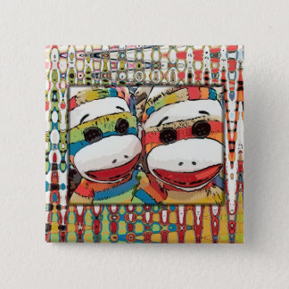 Socken-Affe-Knopf Quadratischer Button 5,1 Cm
