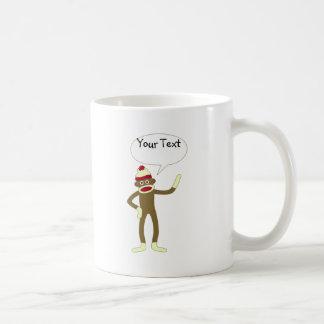 Socken-Affe-kundengerechte Comic-Sprache-Blase Kaffeetasse