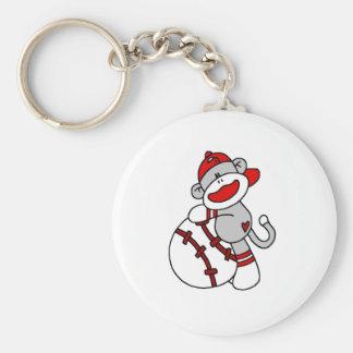 Socken-Affe mit Baseball-T-Shirts und Geschenken Schlüsselanhänger