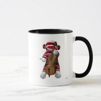 Socken-Affe und Cello 2 Tasse