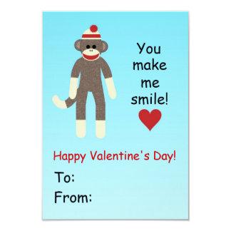 Socken-Affe-Valentinstagkarte für Kinder Karte