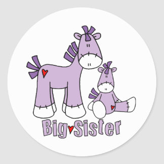 Socken-Pony-große Schwester Runder Aufkleber