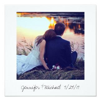 Sofortiges Foto-Blick-Hochzeits-Foto danken Ihnen Quadratische 13,3 Cm Einladungskarte
