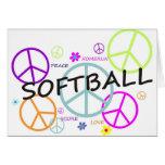 Softball farbige Friedenszeichen Grußkarten