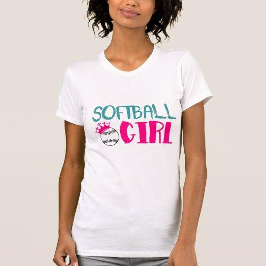Softball-Mädchen-Girly Liebe-T-Shirt T-Shirt