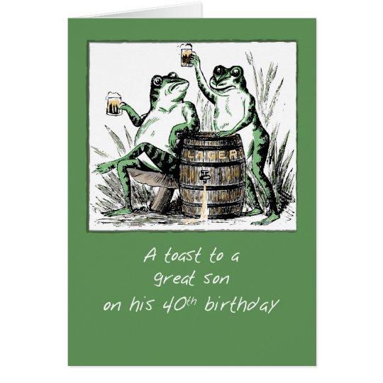 Sohn-40. Geburtstags-Frösche, die mit Bier rösten Grußkarte