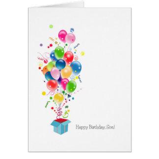 Sohn-Geburtstagskarten-Ballone, die aus Kasten Grußkarte