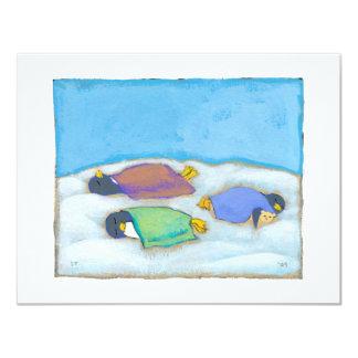 Soirée pyjamas adorable sommeillante d'amusement carton d'invitation 10,79 cm x 13,97 cm