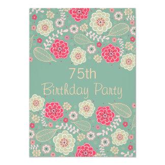 soixante-quinzième Floral moderne génial chic de Carton D'invitation 12,7 Cm X 17,78 Cm