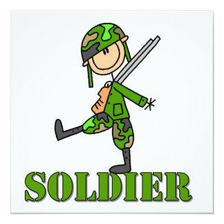 Soldat-Strichmännchen Quadratische 13,3 Cm Einladungskarte