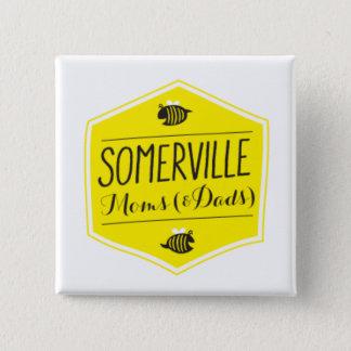 Somerville-Mamma-Logo-Knopf-Weiß Quadratischer Button 5,1 Cm