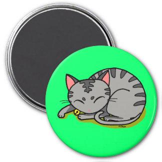 Sommeil gris mignon de chat magnet rond 7,50 cm