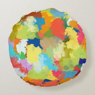 Sommer-Farbbunter Spritzen-Entwurf Rundes Kissen