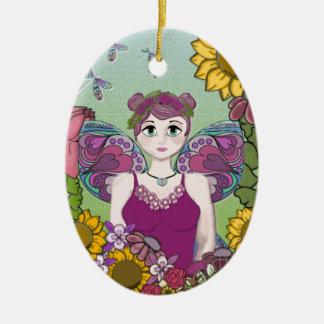 Sommer-Fee mit Libellen Ovales Keramik Ornament