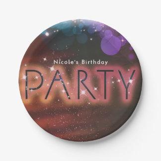 Sommer-Licht-Schein-Tanz-Verein-Geburtstags-Party Pappteller