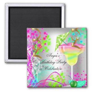 Sommer-rosa Geburtstags-Party-buntes Cocktail Quadratischer Magnet
