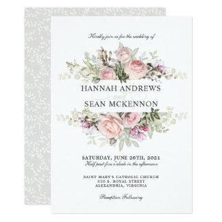 Sommer-Rosen-Garten-Blumenhochzeit Karte
