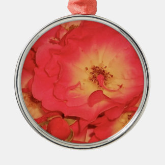 Sommer-Rote Rosen Rundes Silberfarbenes Ornament
