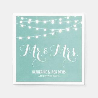 Sommer-Schnur beleuchtet Hochzeits-Monogramm Papierserviette