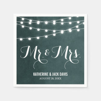 Sommer-Schnur beleuchtet Hochzeits-Monogramm Papierservietten