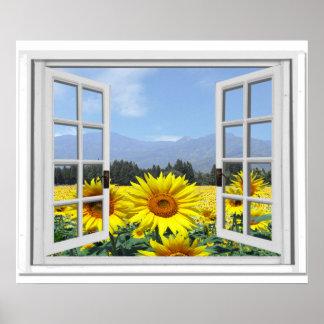 Sommer-Sonnenblume-Garten-Ansicht-Fake-Fenster Poster
