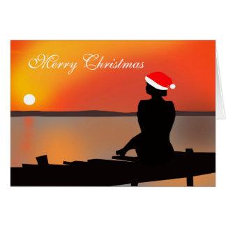 Sommer-Sonnenuntergang-Weihnachtskarte Grußkarte