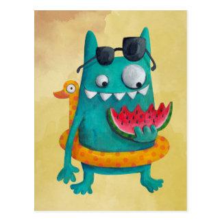 Sommer-Strand-Monster Postkarte