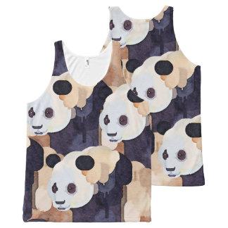 Sommer-Trägershirt: Eiscreme-Panda Komplett Bedrucktes Tanktop