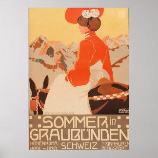 Sommer und Graubunden Schweiz Vintager Poster