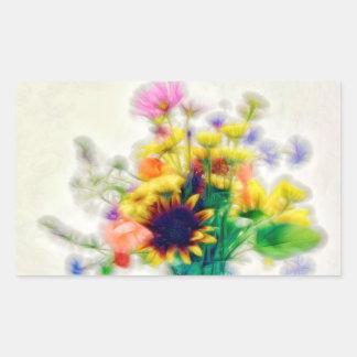 Sommer-Wildblume-Blumenstrauß Rechteckiger Aufkleber