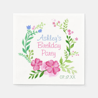 SommerblumenWreath personalisiertes PapierNakins Serviette