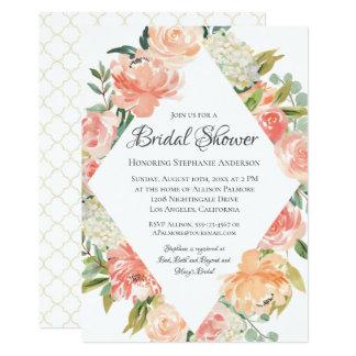 Sommerwatercolor-Blumengemisch-Brautparty Karte