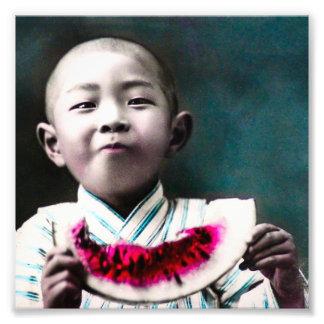 Sommerzeit in alter Vintager Wassermelone Japans Fotografie
