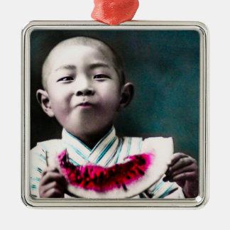 Sommerzeit in alter Vintager Wassermelone Japans Silbernes Ornament