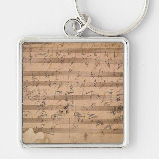 Sonate-Musik-Manuskript Beethovens Hammerklavier Silberfarbener Quadratischer Schlüsselanhänger