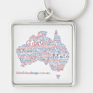 Sonderausgabe-australischer Jargon-Schlüsselring Silberfarbener Quadratischer Schlüsselanhänger