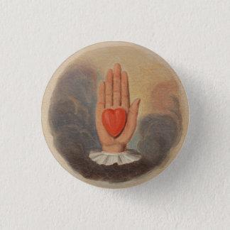 Sonderbare Mitherz-in der Hand Knopf Runder Button 2,5 Cm