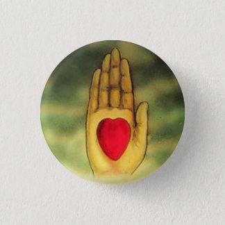 Sonderbare Mitherz-in der Hand Knopf Runder Button 3,2 Cm