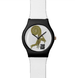 Sonderbares RAM-Schaf-Ziegen-Jahr-weiße Uhr