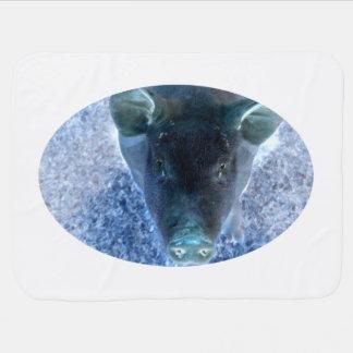 sonderbares Tier umgekehrtes blaues Schweinbild Babydecke
