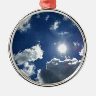 Sonne und Wolken Silbernes Ornament